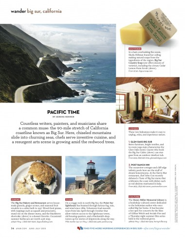 In Big Sur, chiseled mountains slide into churning seas, chefs serve inventive cuisine, and a resurgent arts scene is growing amid the redwood trees