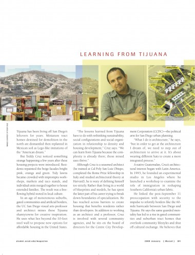 UCSD visual arts professor and architect Teddy Cruz mines Tijuana shantytowns to propose new options for affordable housing in the United States